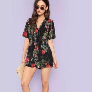 Floral shorts jumpsuit